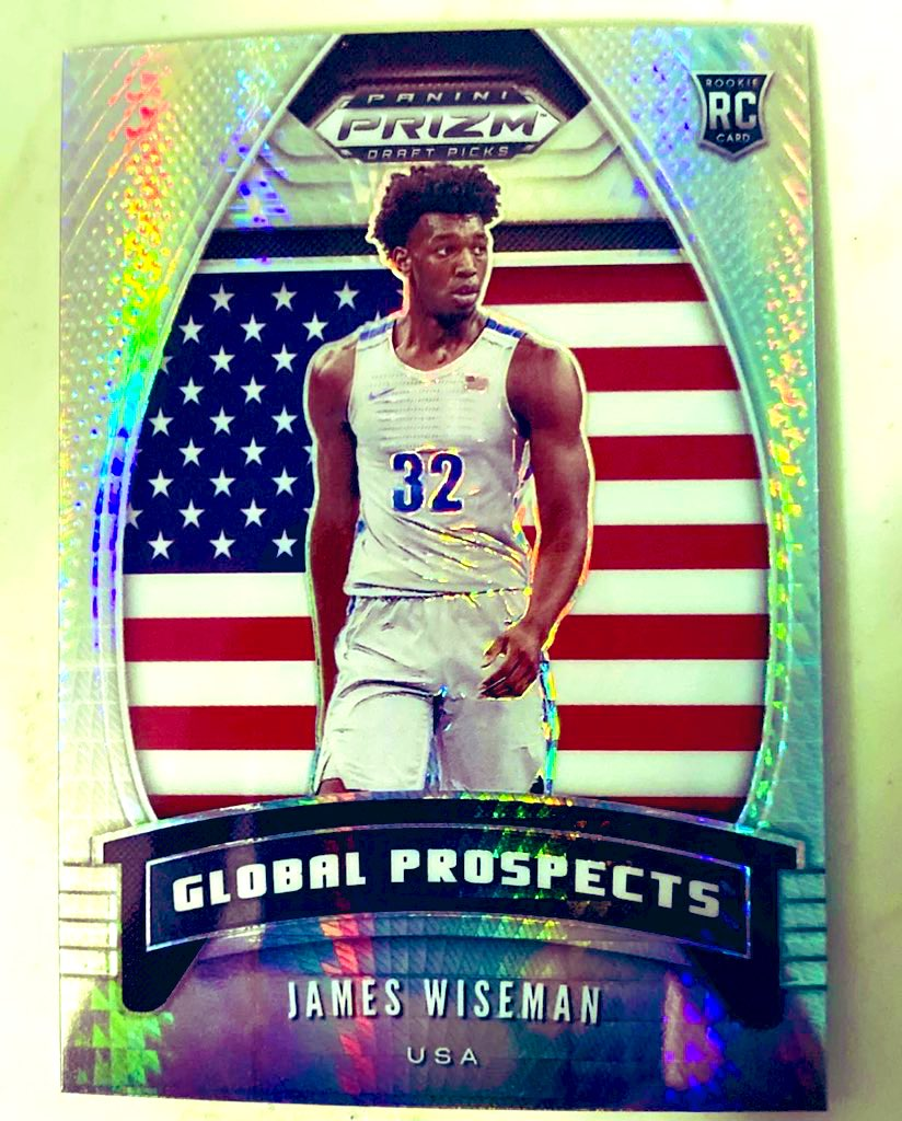 Current bid: $3.58  Ending tonight   Silver James Wiseman Global Prospects insert from 2020-21 Prizm Draft Picks. Great card! Link below.   #NBA #DubNation #thehobby #HMACards @HobbyConnector @sports_sell @Hobby_Connect