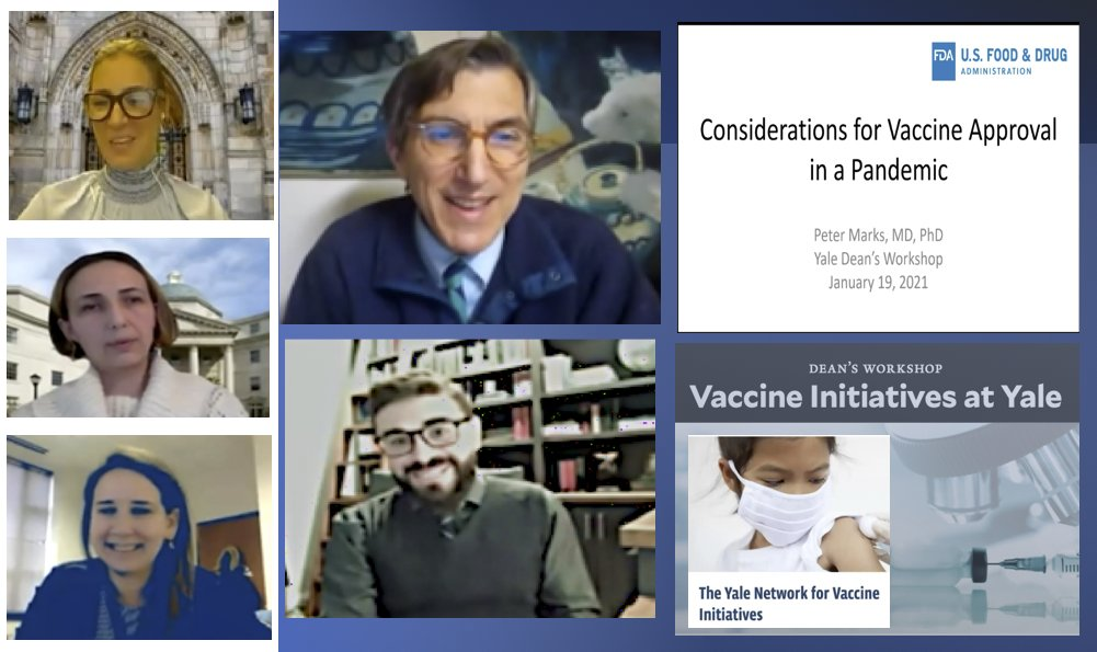 Dr. Peter Marks from @FDACBER gave an excellent presentation on #CovidVaccine for the Dean's Workshop @Yale. Kudos to all the @YalePedsID faculty who participated: @InciYildirim11 , Dr Melissa Campbell, @CR_OliveiraJr and Dr. Marietta Vazquez. Watch here: