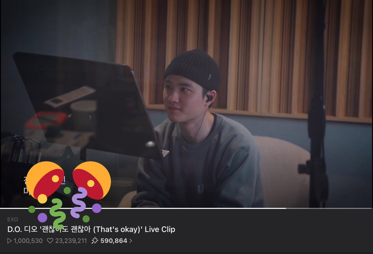 1 million views on V Live for Kyungsoos live version of Thats Okay! 🥳🥳🥳 D.O. 디오 괜찮아도 괜찮아 (Thats okay) Live Clip 🔗 youtu.be/zR043fcuV0Y 🔗 vlive.tv/video/234153 #ThatsOkay #DOHKYUNGSOO #도경수 @weareoneEXO