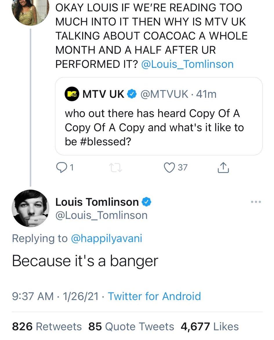 📲  Louis in reply to a fan!