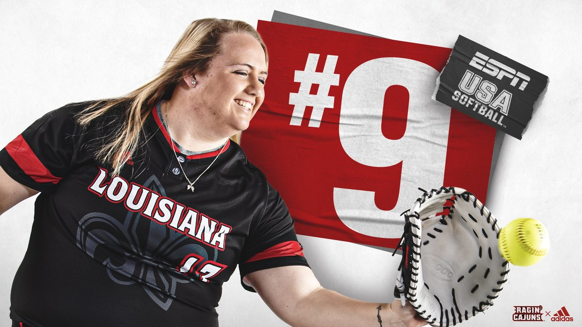 That 𝐓𝐨𝐩 𝟏𝟎 Feelin' 😎  ESPN/USA Softball pollsters list 𝗟𝗢𝗨𝗜𝗦𝗜𝗔𝗡𝗔 at No. 9️⃣ ‼️  🔗 https://t.co/M1COnha587  #GeauxCajuns ⚜️ https://t.co/1t2IrjPzdl