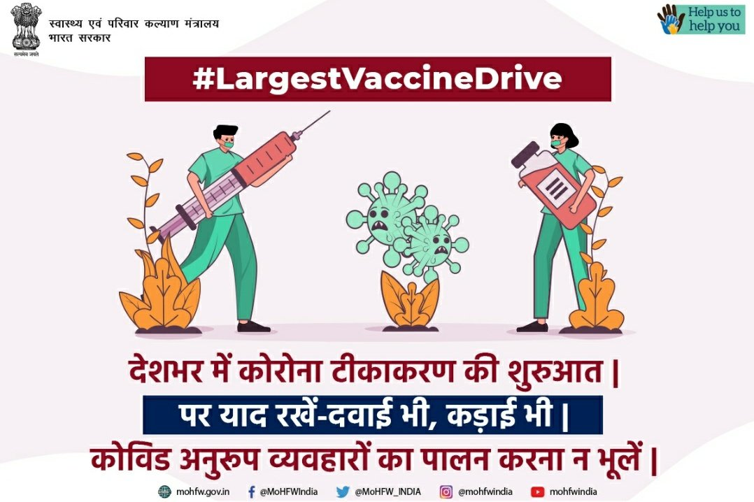 #Unite2FightCorona #COVID19Vaccination drive has been launched across the country. Do register to avail the #CovidVaccine and protect yourself and your loved ones from the novel coronavirus #Unite2FightCorona