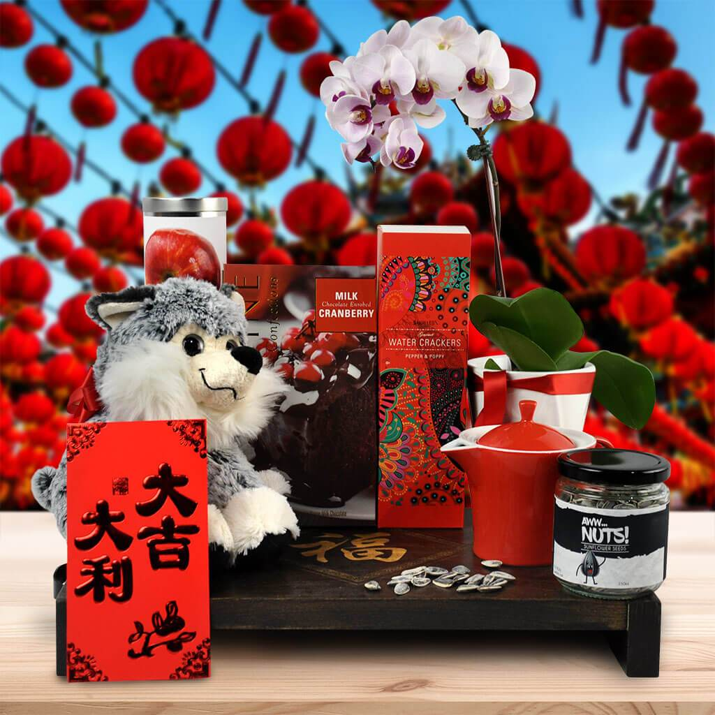 Celebrate the coming Year of the #Dog with the Lucky Dog Gift Basket. 🐶🎁🥂🧡  Hurry! Shop now! 🎁    #yorkvilles #chinesenewyear2021 #yearoftheox #doggifts #pets #petlove #chinesenewyear #lunarnewyear  #happynewyear #chinesegifts #doglovers #USA #canada
