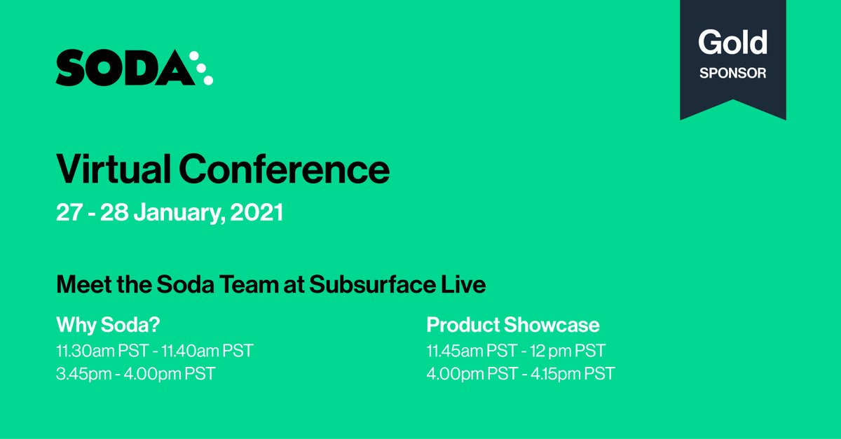 We're looking forward to the opening of @SubsurfaceConf  LIVE. If your primary focus is testing and monitoring data quality, join us every day at 11.30am and 3.45pm (PST).   #dremio #clouddatalake #datamonitoring #dataquality #cloud #soda #subsurface
