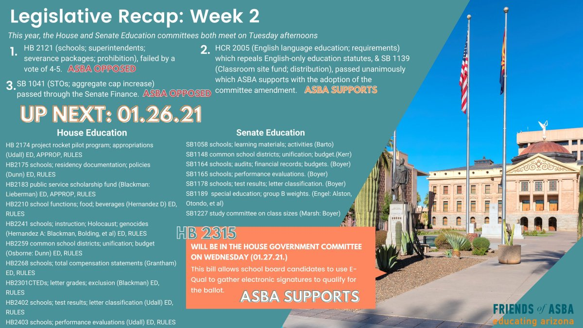 #ICYMI here's WEEK2⃣ #AZleg recap + what to expect for the coming week.  HAPPENING 🔜 Preview agendas & #tunein to the #livestream @ 2:00PM ⬇️ #AZHouse Education  #AZSenate Education