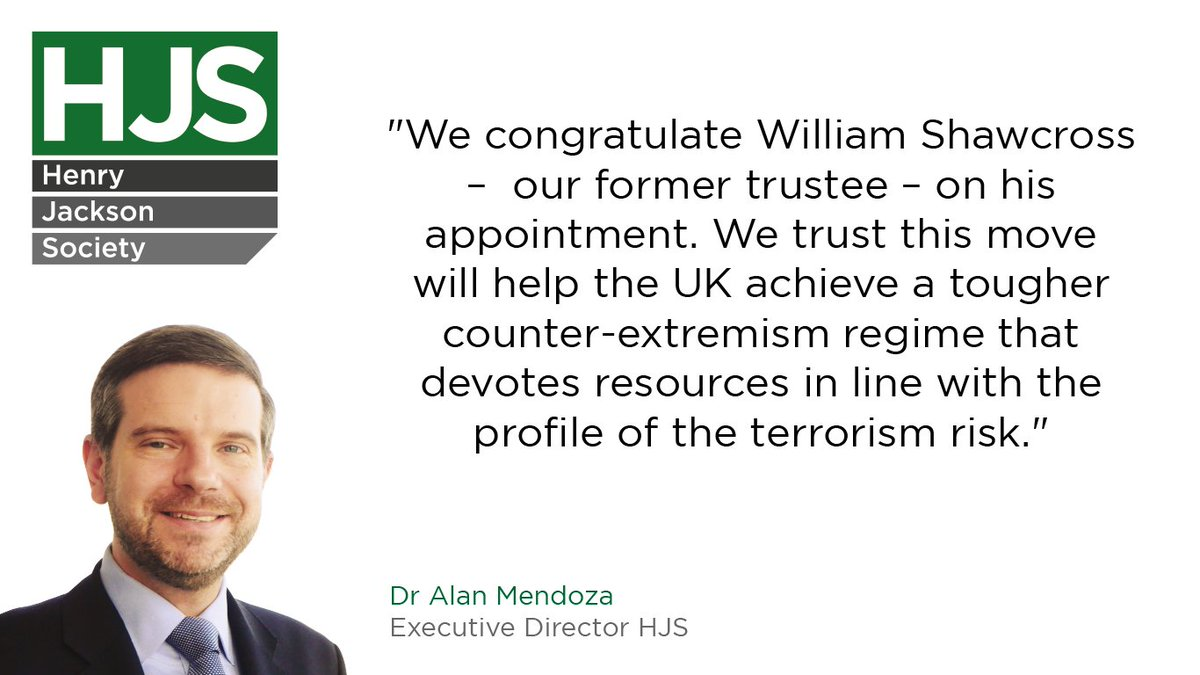Our Executive Director, Dr @alanmendoza, offers his congratulations to William Shawcross on his new position