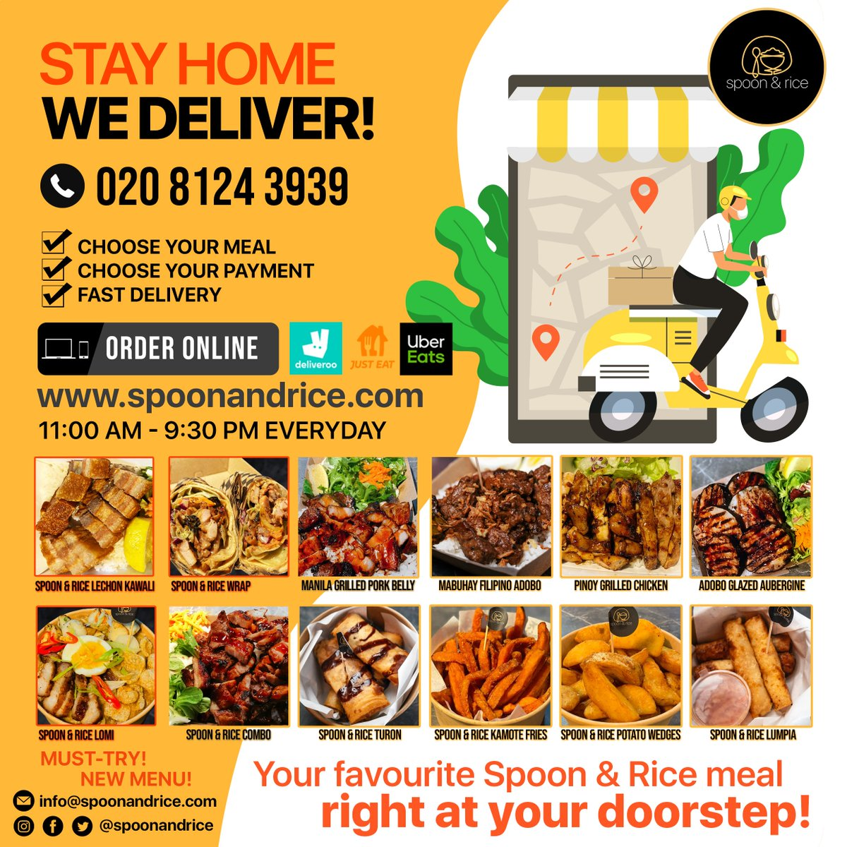 STAY HOME! WE DELIVER! Your favourite Spoon & Rice meal right at your doorstep!  ORDER NOW via DELIVEROO, UBER EATS and JUST EAT You can also order online via   Call us at +44 020 8124 3939 #TuesdayVibe