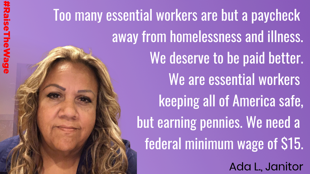 Workers like Ada are on the front lines of the COVID pandemic and have had to struggle against illness and poverty wages. Stand up for essential workers and tell Congress to #RaiseTheWage to $15: