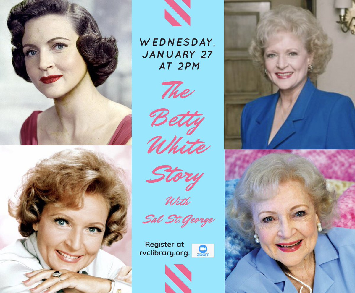 Wednesday, January 27 at 2 pm: The Betty White Story with Sal St. George! 🌟  Popular lecturer St. George takes a look at this remarkable woman dubbed the First Lady of Television!📺  All are welcome! Register at .  #rvclibrary #BettyWhite