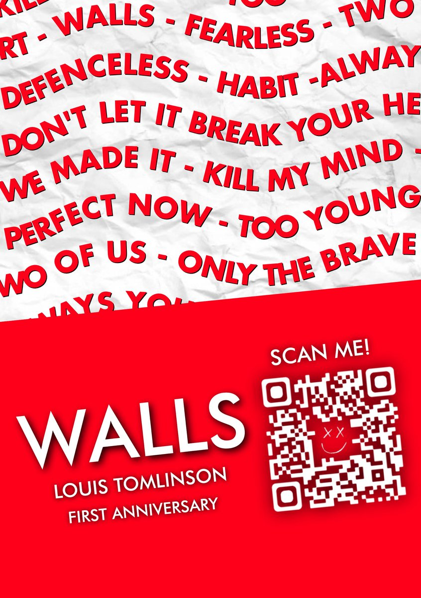 Louies - celebrate Walls very first anniversary with us by 1. Printing this poster & putting it up on the walls of your streets (or your windows, if youre in lockdown!) 2. Taking a picture of it & sending it to wallsanniversary@gmail.com by Jan 30th hyperurl.co/WallsPoster