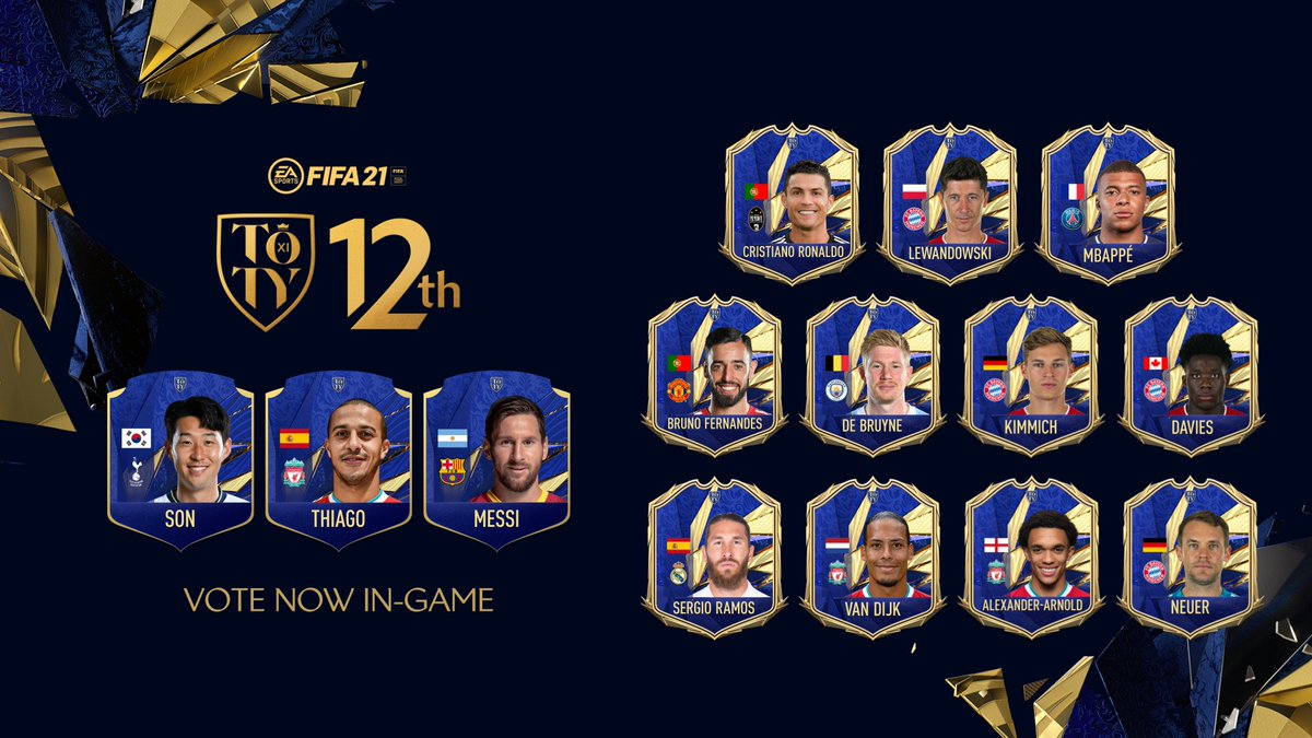 XI down, one to go: Login to #FUT before January 28 to vote for Team of The Year's 12th Man.  #TOTY #FIFA21