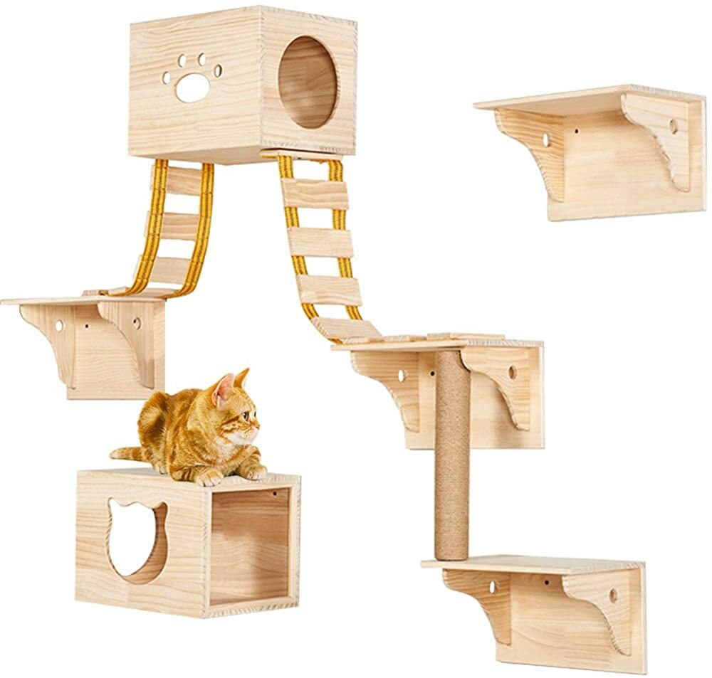 TINTON LIFE 9pcs Wall Wood Cat Climber Set - 2 Cat Condos Houses & 4 Cat Shelves & 2 Ladders & 1 Sis https://t.co/auyYl2tQ0N #gifts #giftideas #dog #cat #puppy #pets  #blackfriday #thanksgiving #cybermonday @amazon #amazon #primeday https://t.co/dw7KzgIoPO