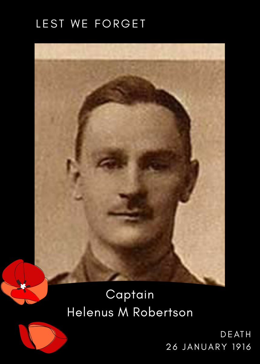 Remembering Captain Helenus Mac-Auley Robertson 🇬🇧  Royal Welch Fusiliers  Death: killed in action, 26 January 1916  Retweet to help remember him 🇬🇧  #Lestweforget #Britisharmy @BritishArmy #remembrance #Britishhistory @RWFMuseum
