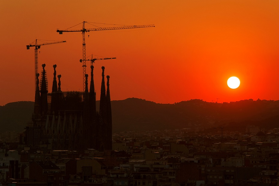 #sunset: stunning sunset in Barcelona.