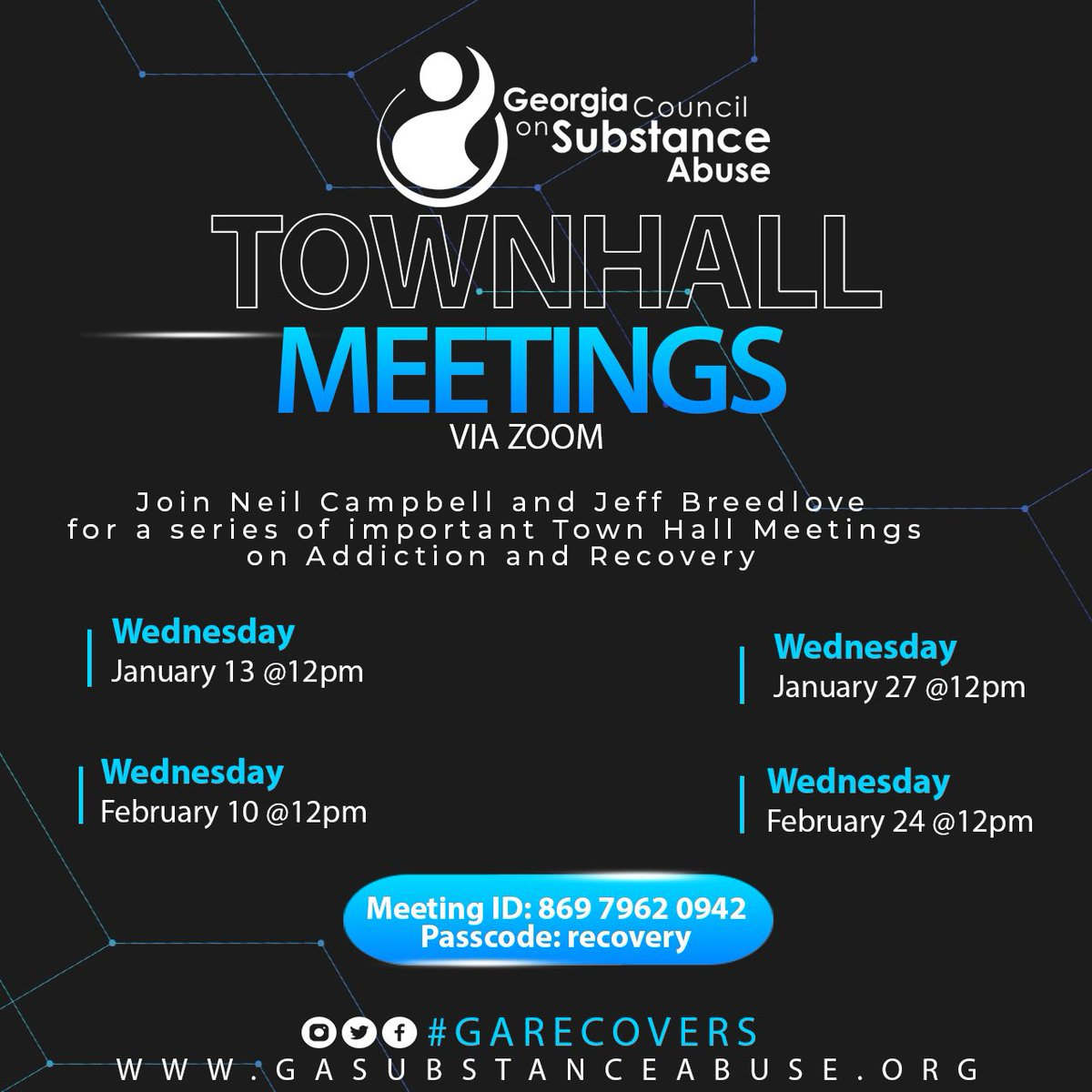 TOMORROW: 12:00 Noon EST the Georgia Council on Substance Abuse Legislative Town Hall   Join Zoom Meeting ...  Meeting ID: 869 7962 0942 Passcode: recovery  #GARecovers #ARAD2021 #gapol #recovery