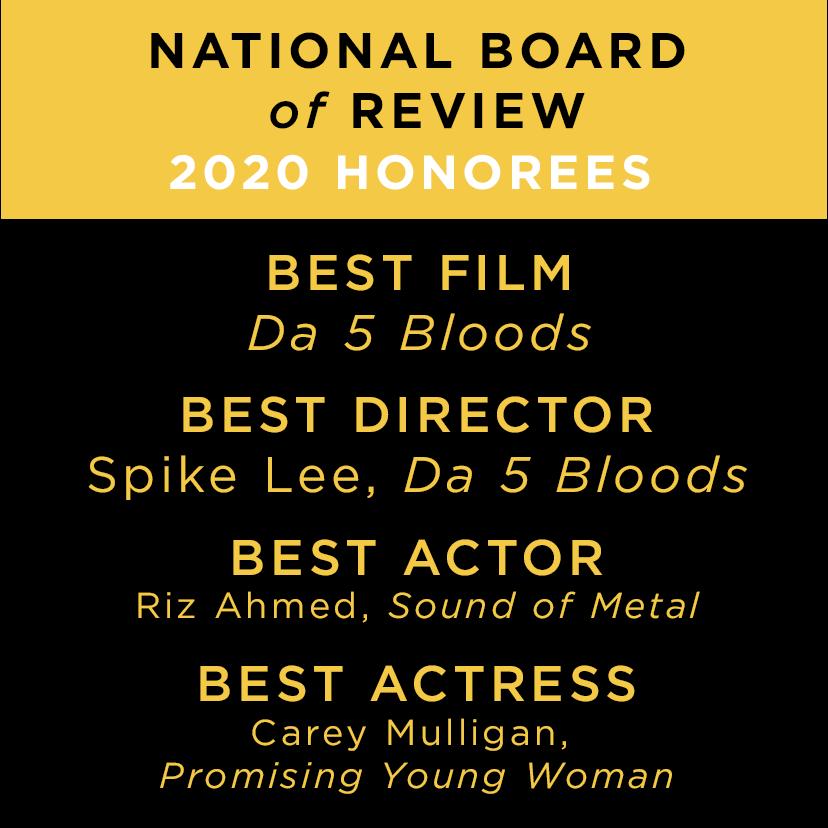 Here's our list of @NBRfilm Honorees for 2020! (1/2) #NBRawards #NBRgala #NBRtop10