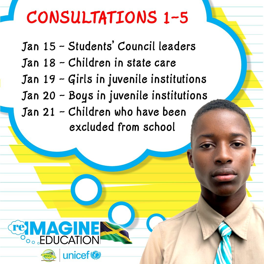 Tonight UNICEF and @nssc_ja are holding our 2nd #ReimagineEducation consultation with rural high school students.  Feedback from all 10 sessions will shape a final report for submission to Prime Minister @AndrewHolnessJM and his Education Transformation Commission.