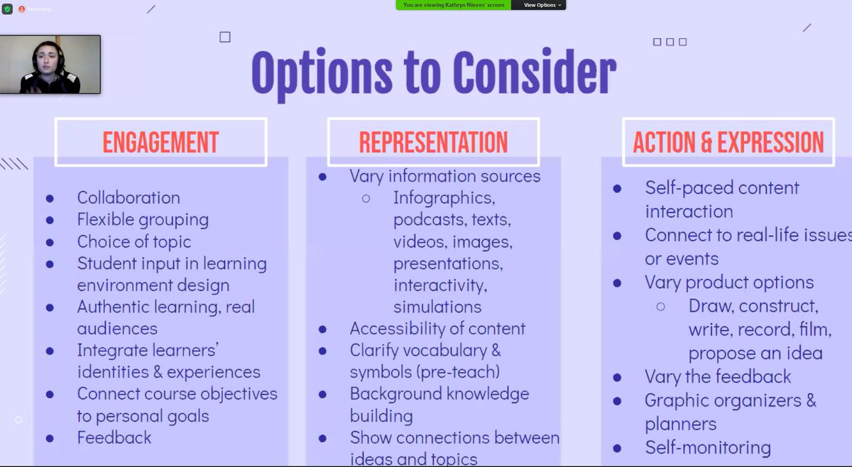 Enjoying this @iste #UDL training from @Ms_KatieNieves! Lots of helpful tips for those teaching remotely or in a hybrid model!   REMEBER Leverage the tech to offer support and to enhance the learning rather than as a token use.  #edchat #fetc #FETC2021 #tuesdaymotivations