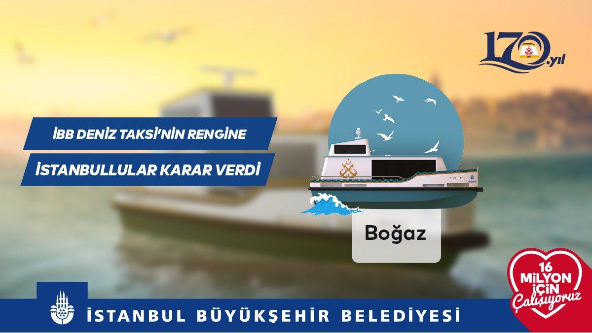 İstanbullular deniz taksinin rengine karar verdi.   150 binden fazla oy kullanılan anketimizde %36 oy oranı ile İBB Deniz Taksi için Boğaz isimli tasarım seçildi. Bu yaz hizmete girecek deniz taksilerimizin üretimi Haliç Tersanemizde devam ediyor.