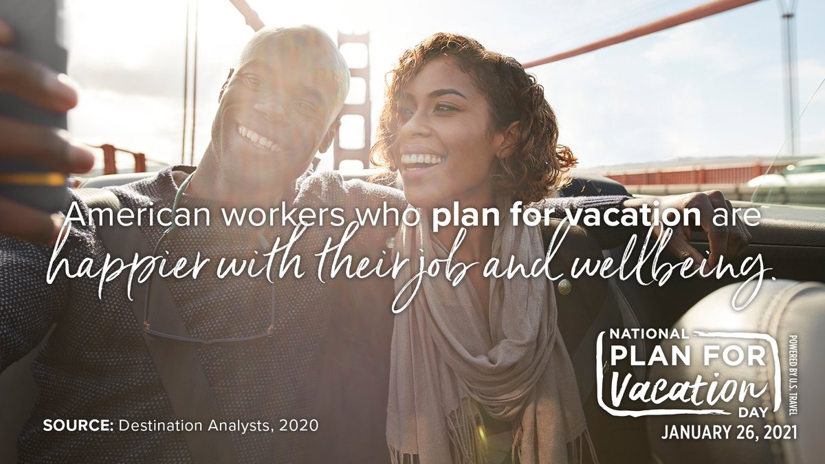Happy National #PlanForVacation Day! Today, thousands of organizations join this annual, nationwide event to encourage Americans to commit their PTO for the year ahead and provide inspiration as they plan how to spend them.  Read more here on @USTravel: .