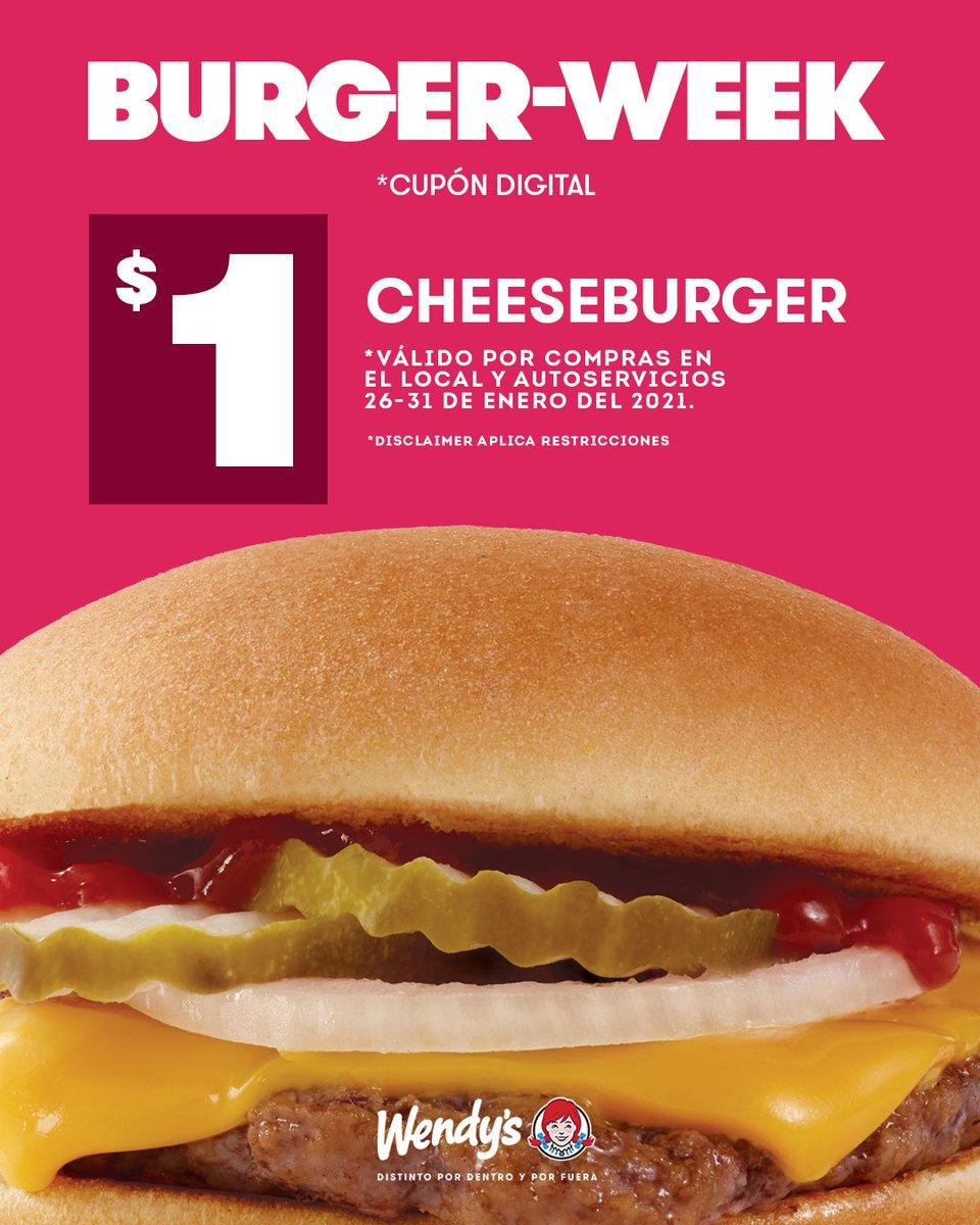 ¡Esta semana es BURGER-WEEK y pecamos! 🤯 La imperdible #cheeseburger, una deliciosa hamburguesa de carne, queso cheddar, aros de cebolla y pepinillos a solo $1.  *Promo válida por compras en local y autoservicio del 26 al 31 de enero del 2021. #WendysDiferentePorDentroYPorFuera https://t.co/OgN6j7z8WZ