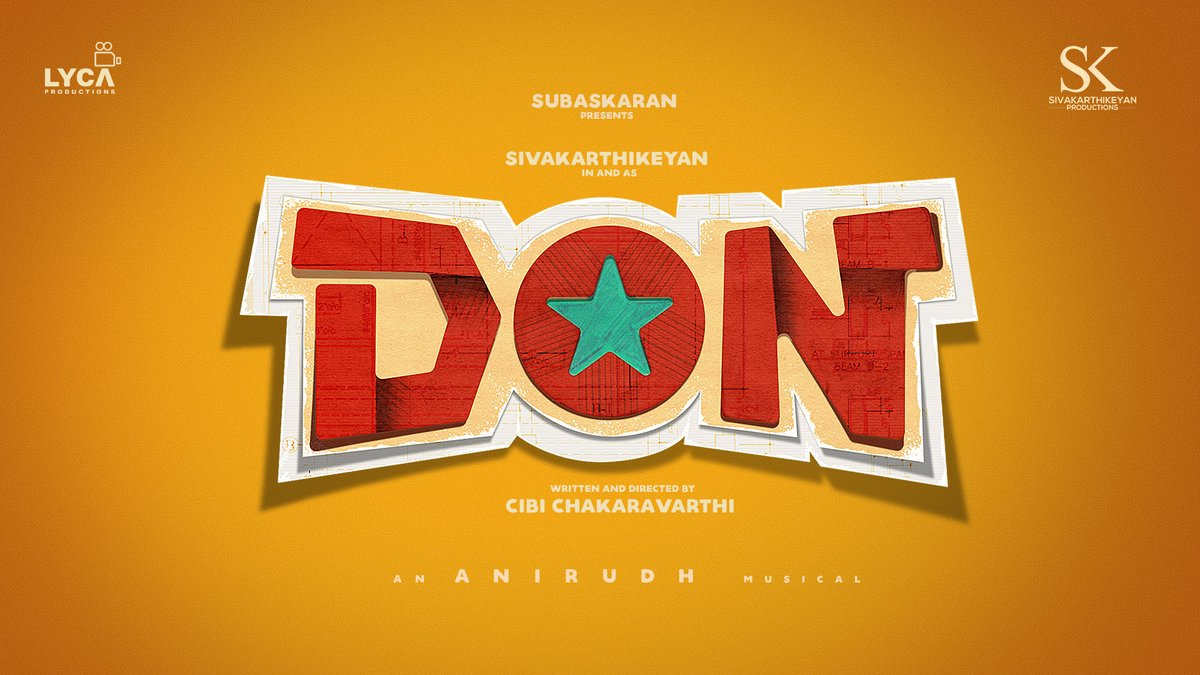 Happy to announce my next film with @LycaProductions titled #DON 😎 Music by my dearest Rockstar  @anirudhofficial 🥳 It's always an extra happiness to join with a debutant Director, here is @Dir_Cibi 😊👍  @SKProdOffl @KalaiArasu_