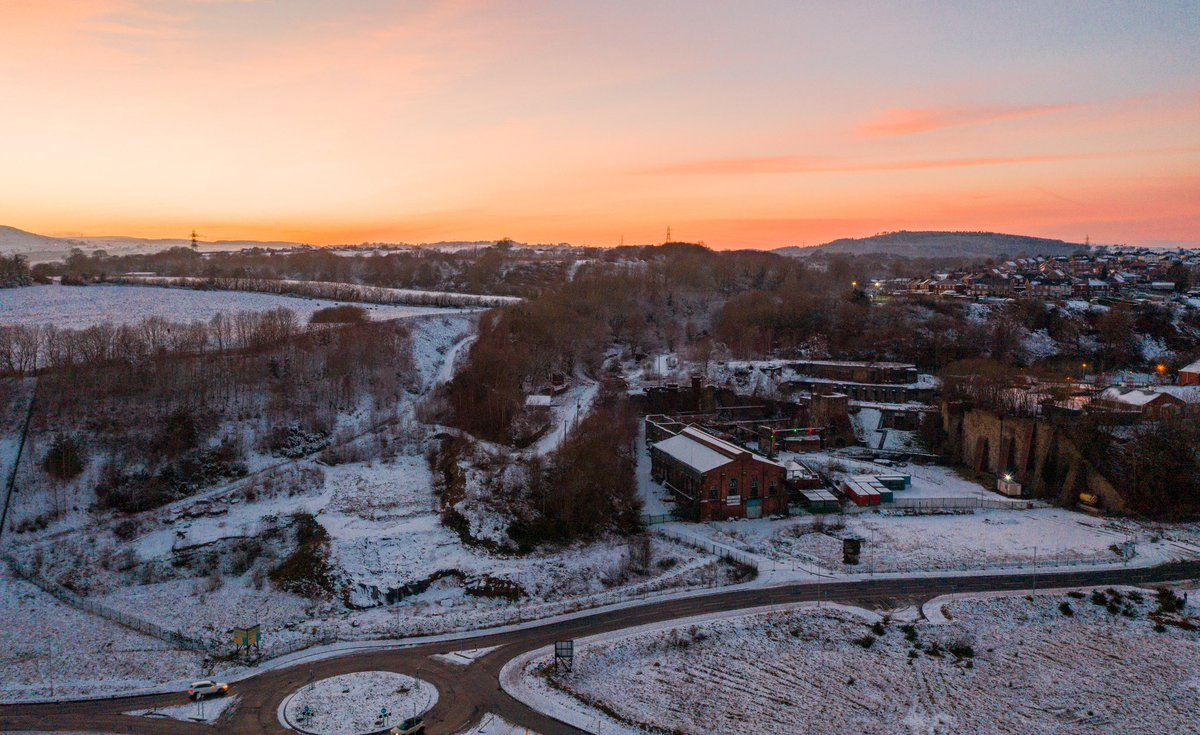 Beautiful peachy sunset over @brymboheritage and @fossilforest 🌅 #brymbo #dronephotography #wrexham #heritage #sunset #goldenhour #dji