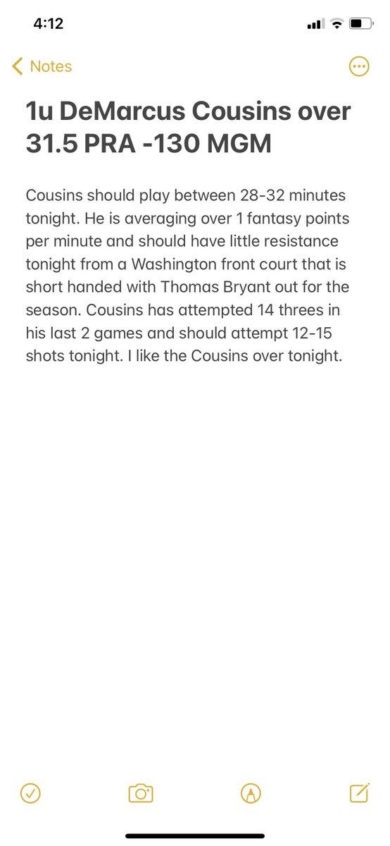 1u DeMarcus Cousins over 31.5 PRA -130 MGM. #Gamblingtwitter #nbaprops #basketball #bettingadvice #bettingtips #bettingsports