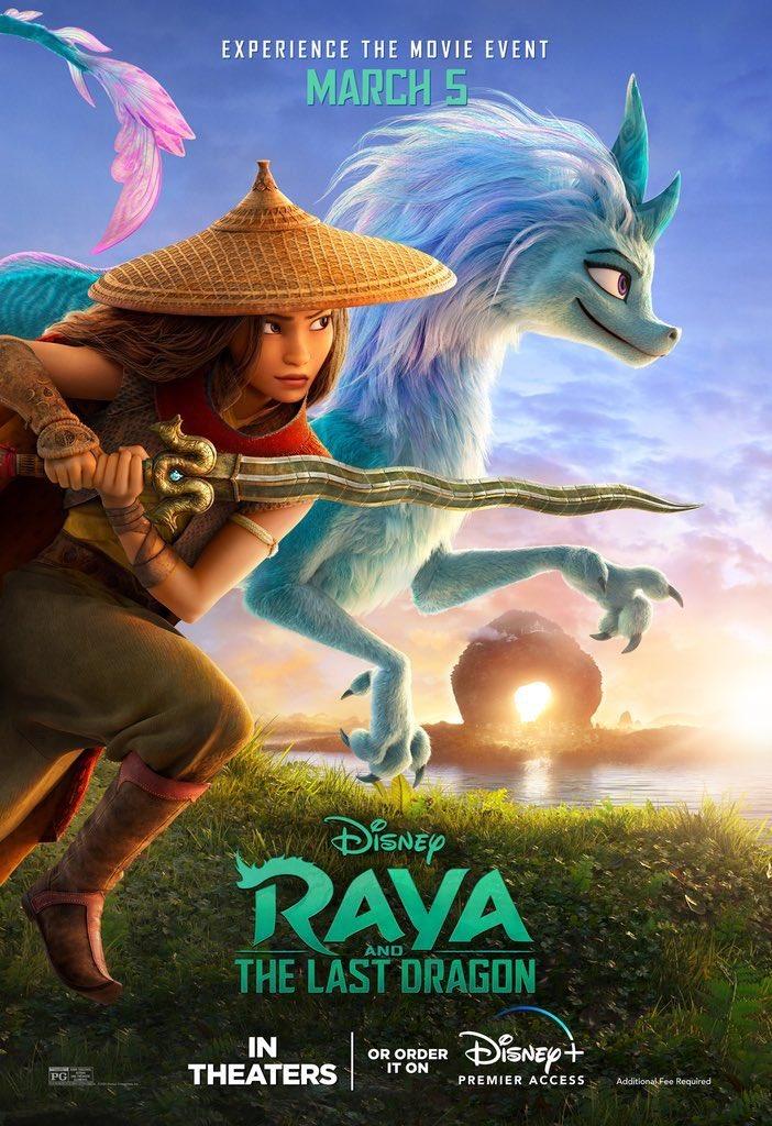 Divulgado um novo pôster de #RayaAndTheLastDragon.  Estreia dia 05 de março no Disney+