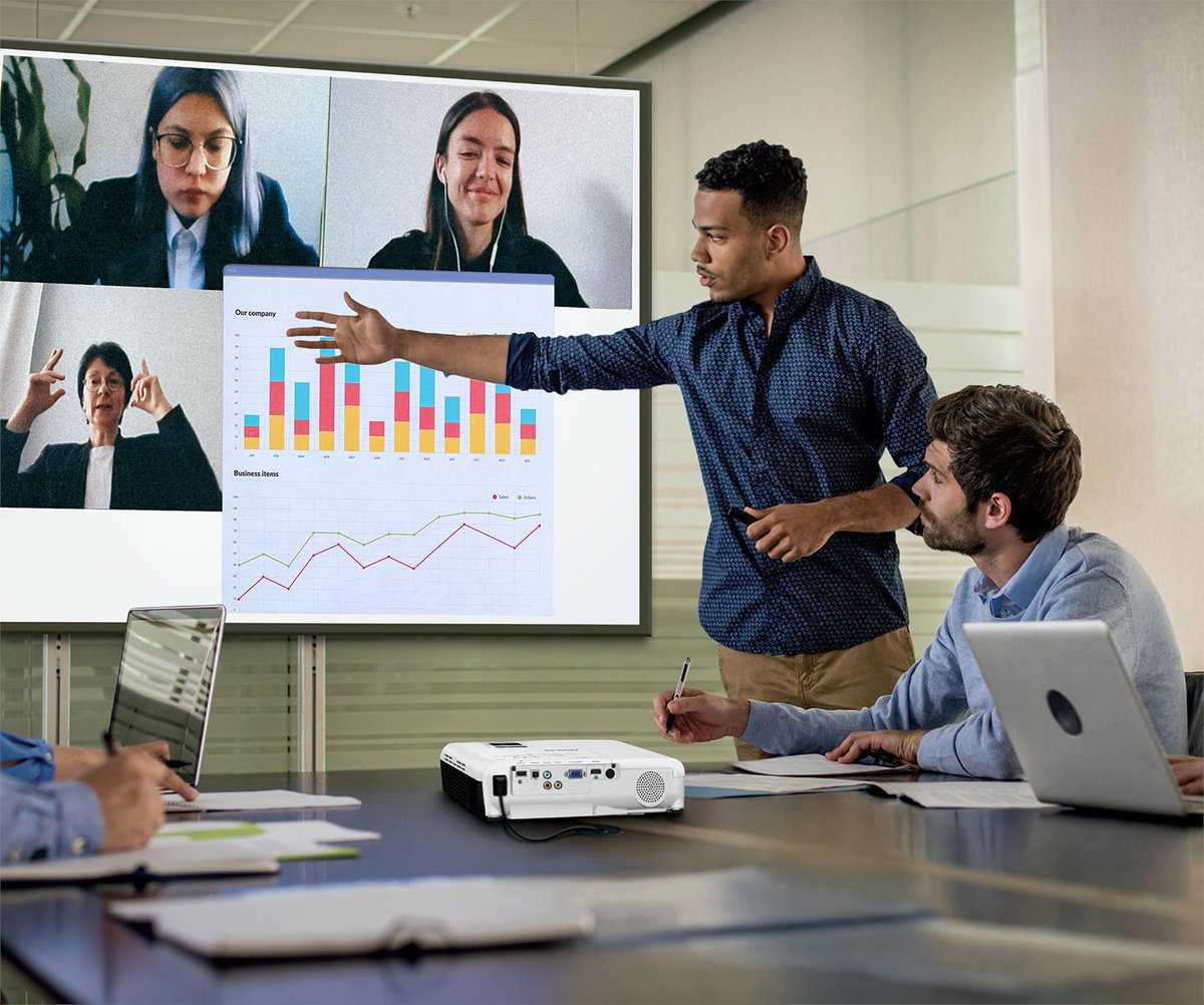 Our easy to use VS350 portable projector delivers detailed and colorful images — even in well-lit rooms! Ideal for text-heavy presentations.  #portable #projector #office #meetings #3LCD #detail