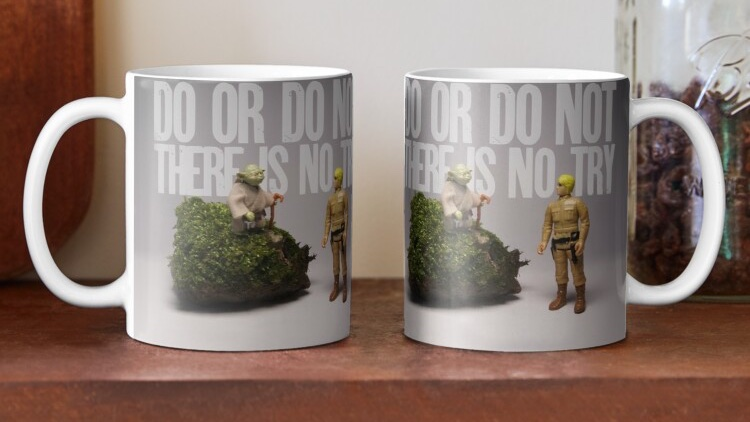 Do or Do Not There is No Try Coffee Mug.   £10.80 each £9.18 when you buy 2+ £8.64 when you buy 4+ Delivery; Express by 1 February Standard between 2 - 3 February #StarWars #TheEmpireStrikesBack #Yoda #LukeSkywalker #Kenner