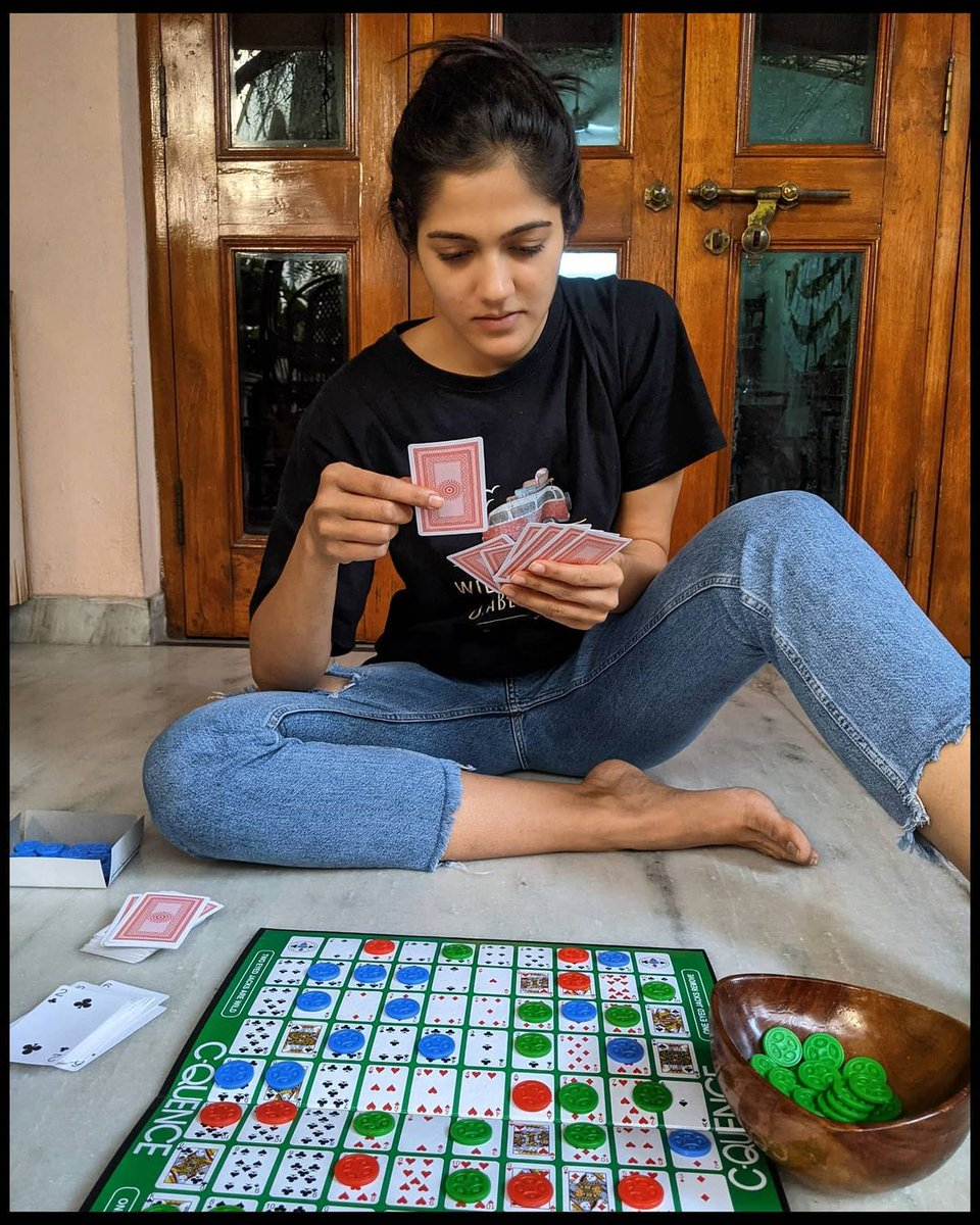 Game nights @SimranCOfficial's  house look so fun and she sure doesn't like to lose!  #focus #boardgames #holidays #RepublicDay #familytime #SimranChoudhary #Tollywood #Telugucinema
