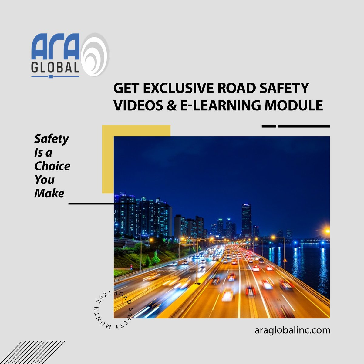 Safety is a Choice You Make  Get Exclusive Road Safety Videos & e-Learning Modules.  For Training Enquiry Deepika +91 6383 597 155 Yamini +91 7397 755 251  #ARAGlobal #RoadSafety #RoadAccident #roadsafetyweek #Traffic #trafficsigns #roadtrip