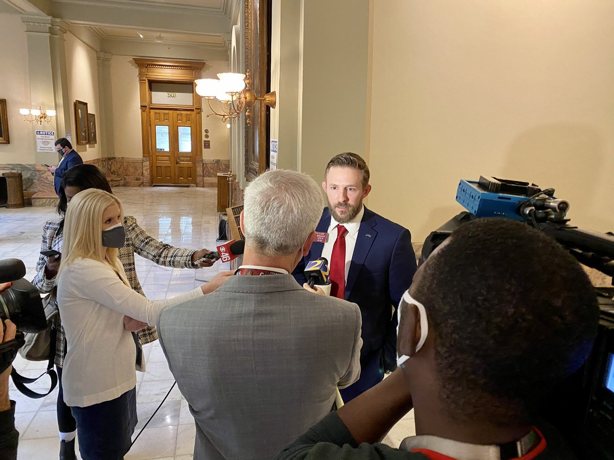 Georgia's House speaker booted a fellow state rep (and political foe pictured below w no mask) from the chamber today for refusing to take twice-weekly COVID-19 tests required for all lawmakers in the 2021 legislative session. #gapol  Capitol Beat story: