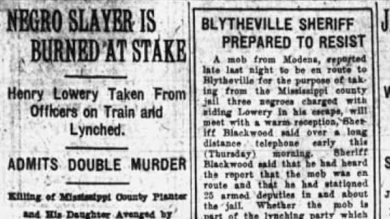 Jan. 26, 1921: A Black man, Henry Lowery, is lynched in Nodena, Ark., burned at the stake in an atrocity that helped propel a campaign for a federal law against lynching. 1/8 (Arkansas Gazette of Little Rock) #100yearsago