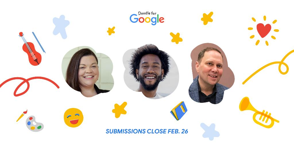 Our awesome panel of #DoodleForGoogle contest judges Tabatha Rosproy, Peter Cottontale, & Dave Pilkey are eagerly awaiting your entries!  Don't forget to submit your Doodle by February 26 🎨  For more on this year's theme, prizes, & to enter your Doodle →