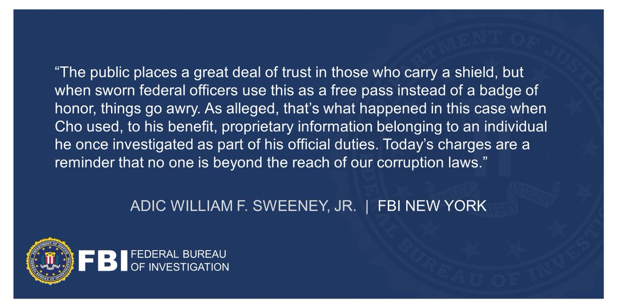 Internal Revenue Service Agent Charged with Identity Theft and Wire Fraud (announced w/ @EDNYnews and Treasury Inspector General) ADIC Sweeney: Today's charges are a reminder that no one is beyond the reach of our corruption laws. Full statement below.