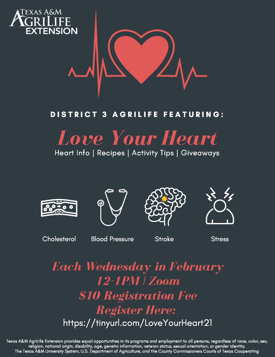 @txextension Love Your Heart Series, Wednesdays in February, Noon-1PM  for lessons to help your heart: #cholesterol #bloodpressure #stroke #stress Register @