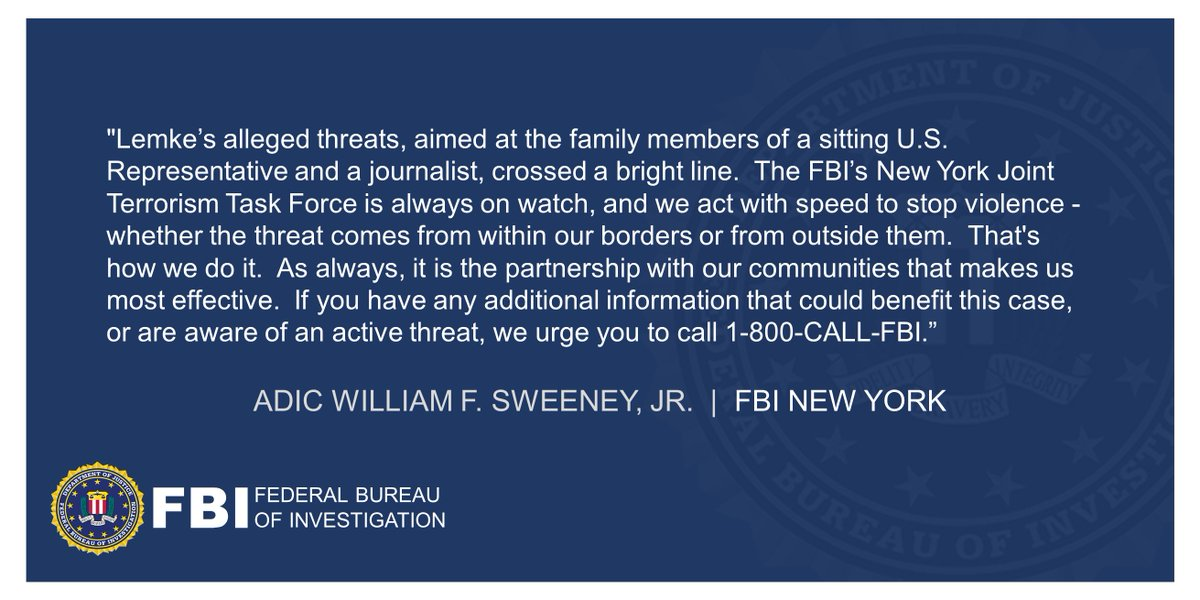 California Man Charged With Making Threats Directed Against A New York City-Based U.S. Congressman And A Journalist, Citing Statements About Results Of The 2020 Presidential Election (announced w/ @SDNYnews , @NYPDnews ) ADIC Sweeneys statement below. ow.ly/xVPY50DiTJD