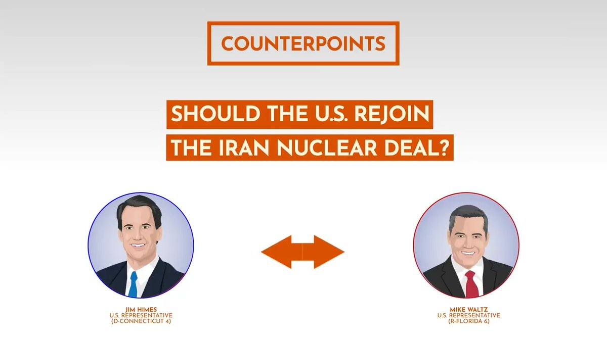 The Joint Comprehensive Plan of Action was created in 2015 to restrict Iran's nuclear program in exchange for sanctions relief. Hear Rep. @jahimes & Rep. @michaelgwaltz discuss whether they think the US should rejoin the deal in this #Counterpoint 👉 https://t.co/BHbT252AaC https://t.co/LH59F02Xoc