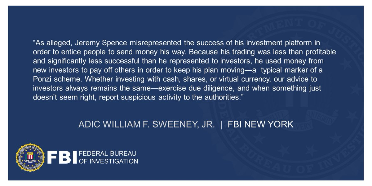 Cryptocurrency Trader Charged In Manhattan Federal Court With Fraudulent Scheme Involving Over $5 Million (announced with @SDNYnews ) ADIC Sweeneys statement below. ow.ly/bqTW50DiUfR