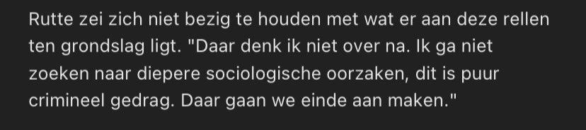 Wat hebben die sociologen nou gedaan dat Mark Rutte consequent zo'n lak aan ons heeft? Hij is in ieder geval consistent: ik geloof dat dit ondertussen uitspraak ~5 (?) in deze strekking is. (En psst, criminaal gedrag *heeft* een diepere sociologische oorzaak!)