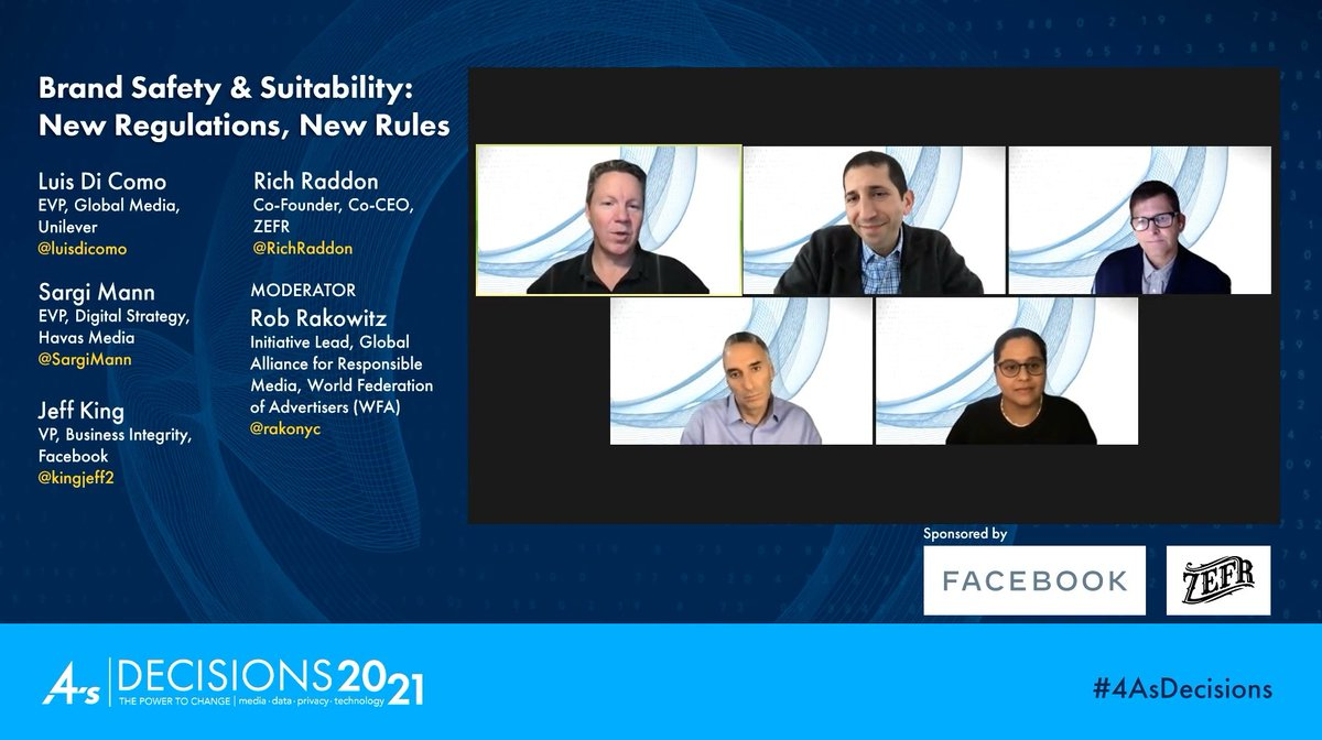 """#4AsDecisions 2021 Brand Safety & Suitability: New Regulations, New Rules session. """"GARM is all about working together toward new solutions everyday."""" @kingjeff2 @Facebook #media #technology #data @RichRaddon @ZEFRinc @rakonyc @luisdicomo @SargiMann #4As @4As #GARM #brandsafety"""