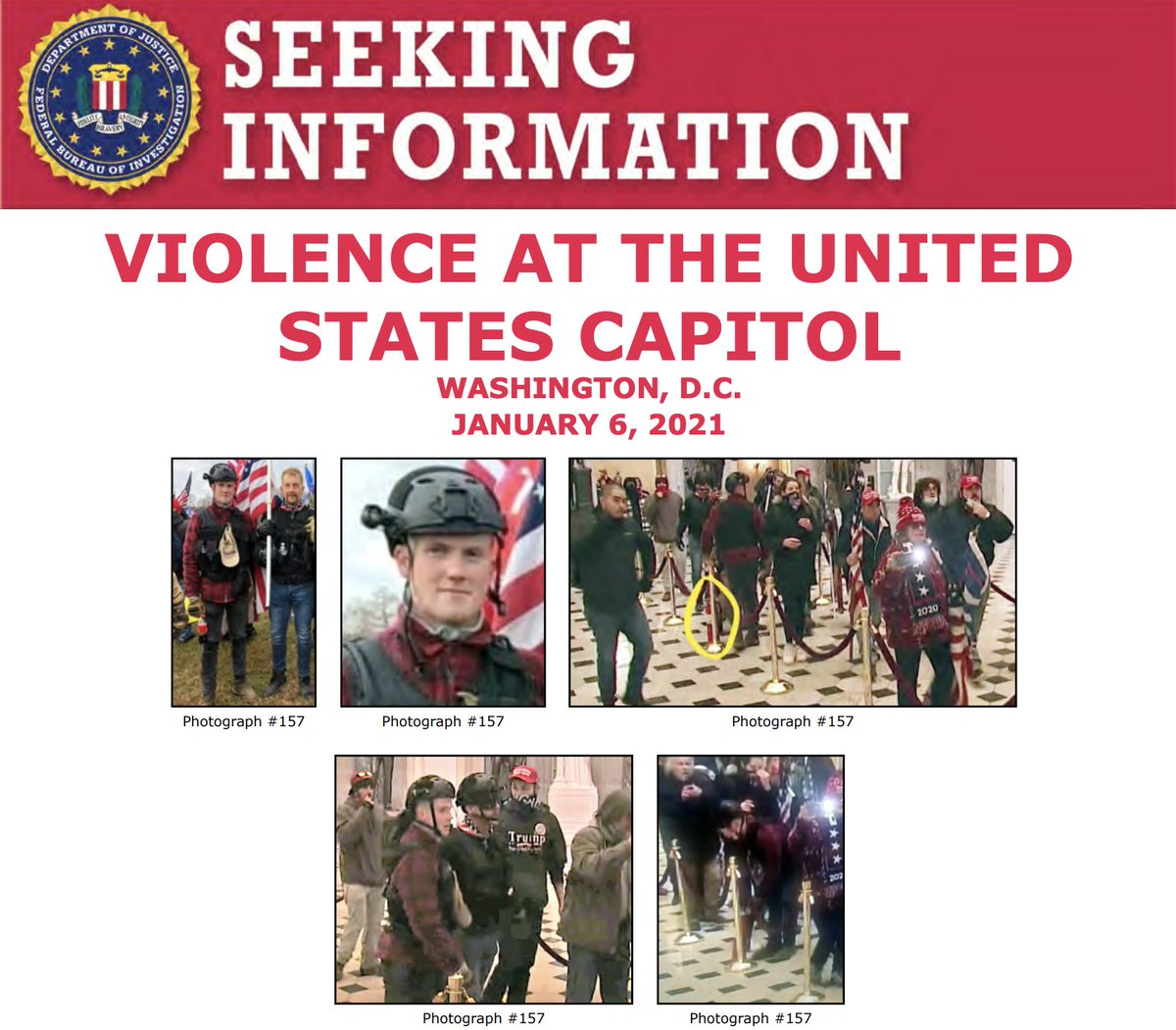The #FBI is seeking to identify individuals who unlawfully entered the U.S. Capitol on January 6. If you recognize this man, visit  to submit a tip. Please refer to photograph 157 in your tip. @FBIWFO