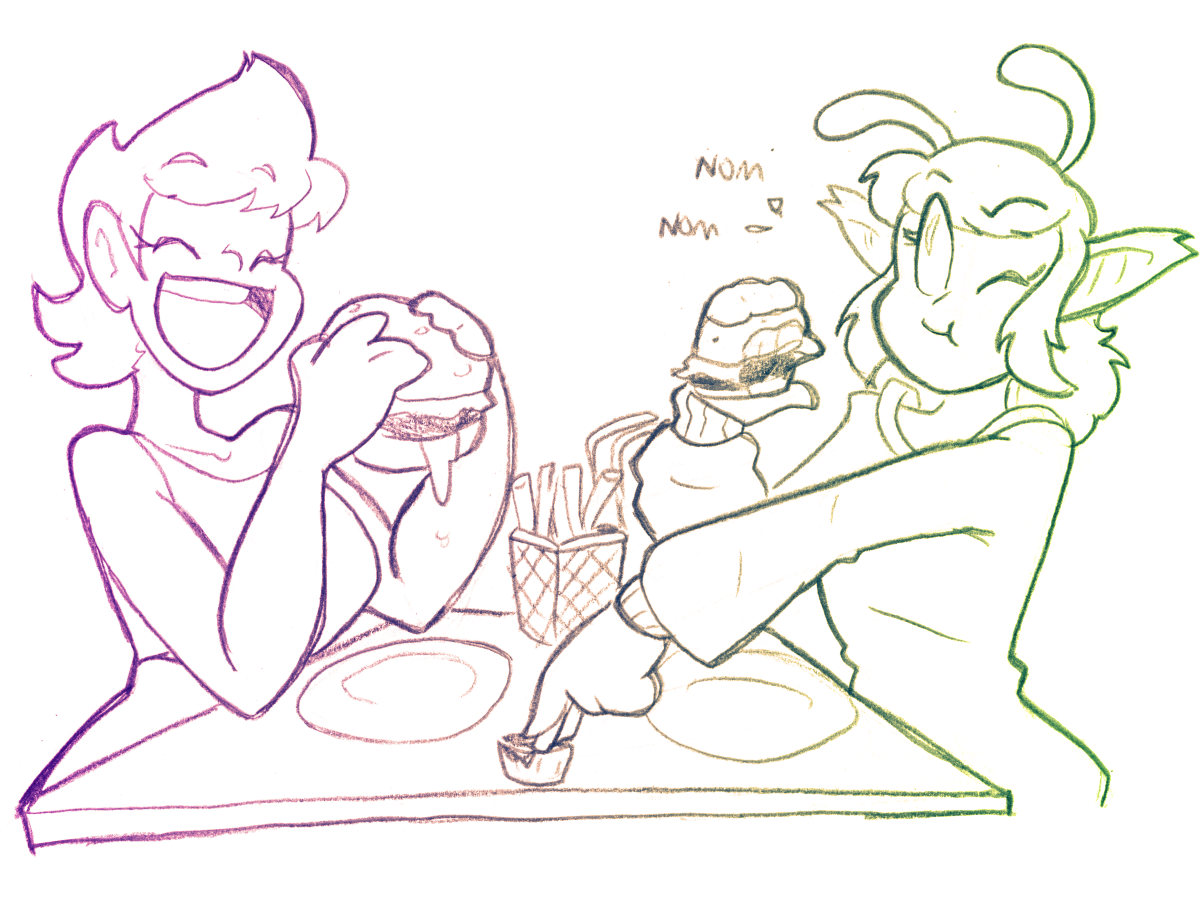 For todays Patreon prompt, Kyle wanted to see Cel munching down on some burgers with an alien friend. Finally, something relateable! Thank you for your support!!
