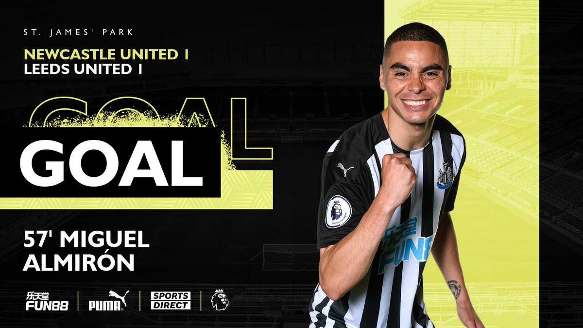 Level at St. James' Park!   Lascelles puts in a brilliant challenge to win the ball high up the pitch before Shelvey and Wilson combine on the edge of the box to find Almirón who finds the net.  [1-1]  #NEWLEE   #NUFC