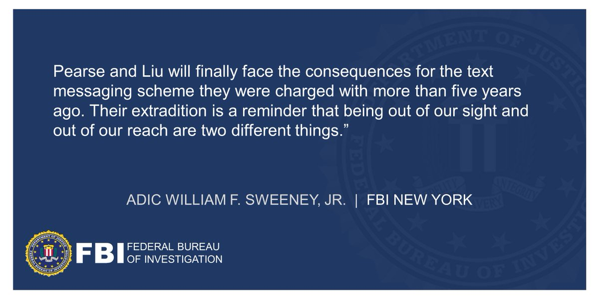 U.S. Attorney Announces Extradition Of Two Defendants In Text Messaging Consumer Fraud Scheme ADIC Sweeney: Their extradition is a reminder that being out of our sight and out of our reach are two different things. Full statement below. ow.ly/HDJb50DiUUG