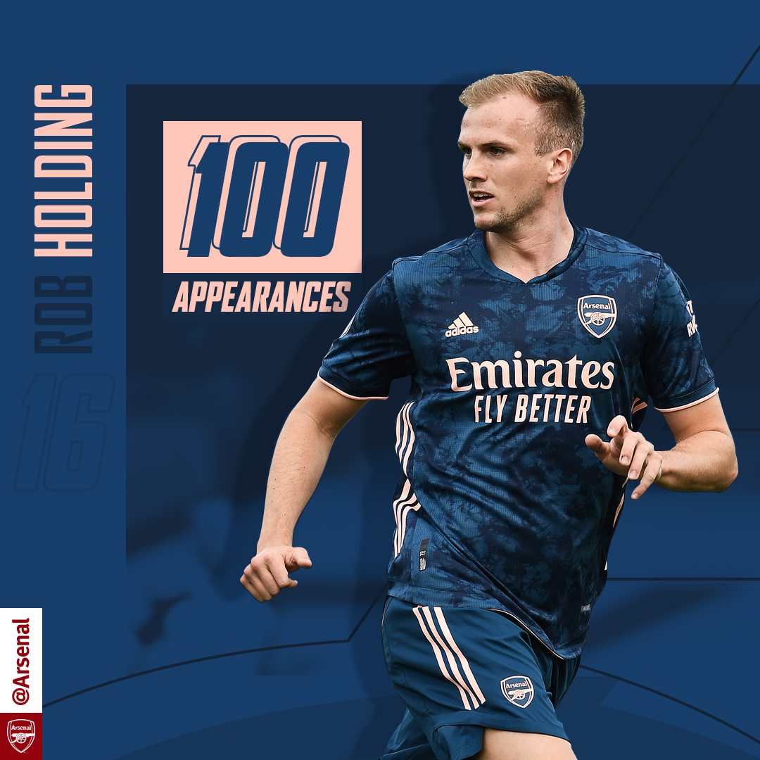 💯 The Arsenal's latest centurion  Congratulations, @RobHolding95 👏