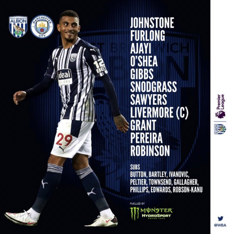 Sam Allardyce and Pep Guardiola have named their lineups for this evening...   #WBA #MCFC