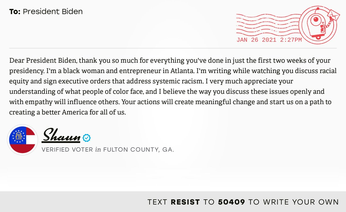 📬 I delivered this ✉️ from Shaun, a 🗳 verified voter in Atlanta, Ga., to @POTUS #GA13 #GApol  📝 Write your own: